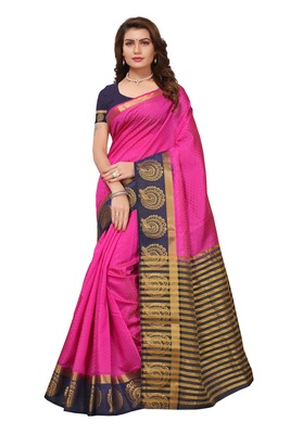 Pink woven tussar silk saree with blouse
