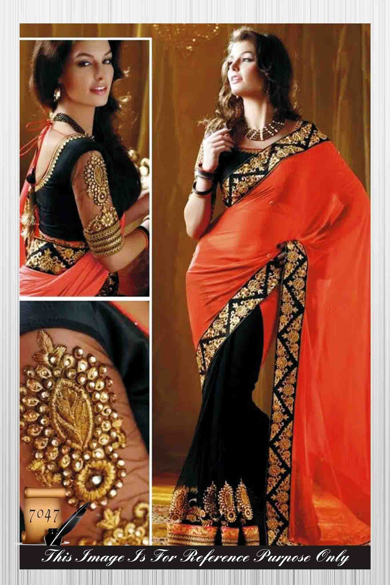 64009d744f21b4 orange & black embroidered georgette saree with blouse - PRINCY CREATION -  364305
