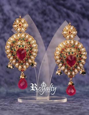 Maharani gemstones pearls purple kundan earrings