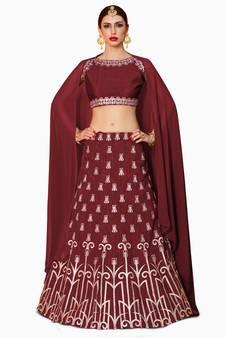 e3ec61362a 15% OFF Buy Maroon Embroidered Art Silk Semi Stitched Lehenga With Dupatta  ethnic-lehenga online