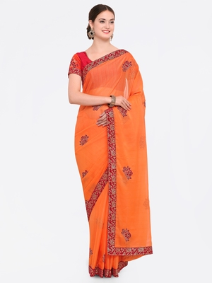 Orange Embroidered Chiffon Pattern Saree With Blouse