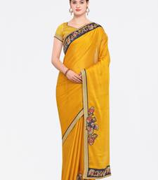 Buy Yellow Embroidered Moss Chiffon Saree With Blouse party-wear-saree online