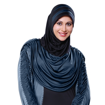 Black Grey Poly Cotton Ready To Wear Islamic Hijab