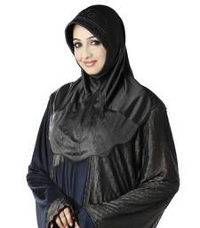 Black Poly Cotton Ready To Wear Islamic Hijab