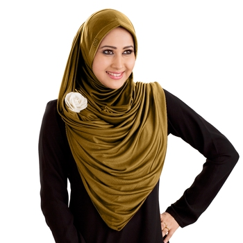 Gold Poly Cotton Ready To Wear Islamic Hijab