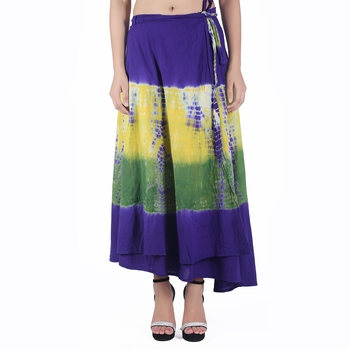 Multicolor Tie Dye Cotton Wrap Skirt