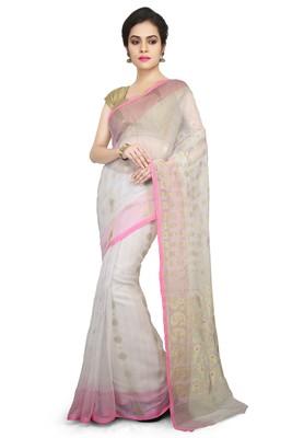 White Plain Cotton Silk Saree
