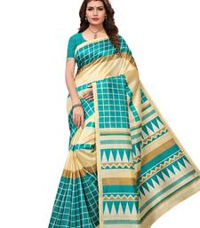 Buy Turquoise printed bhagalpuri silk saree with blouse great-indian-saree-festival online