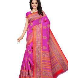 Buy Pink printed bhagalpuri silk saree with blouse great-indian-saree-festival online