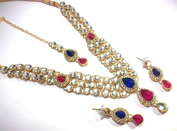 pink and Blue dulhan kundan necklace set