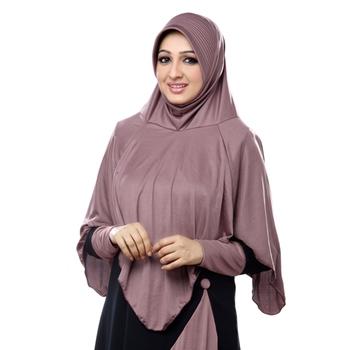 Coffee Poly Cotton Ready To Wear Islamic Hijab
