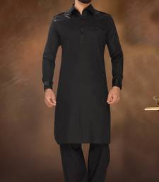 Buy Black Leather Bi Cotton Polly And Leather Shoulder Pathani Sherwani pathani-sherwani online