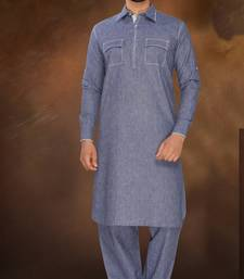 Buy Blue Plain Polly  Linen Pathani Sherwani pathani-sherwani online