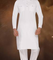 Buy White Plain Bi Cotton Polly Pathani Sherwani pathani-sherwani online