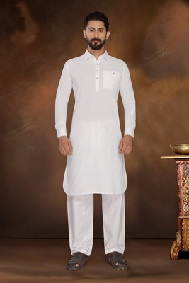 White Embroidered Cotton Poly Pathani Suit