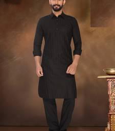 Buy Black Embroidered Cotton Poly Pathani Sherwani pathani-sherwani online