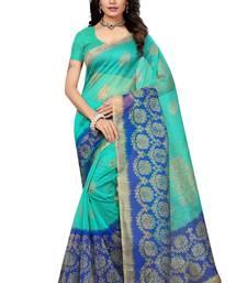 Buy Blue Plain Kota Silk Saree With Blouse great-indian-saree-festival online