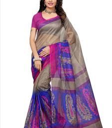 Buy Grey Plain Kota Silk Saree With Blouse great-indian-saree-festival online