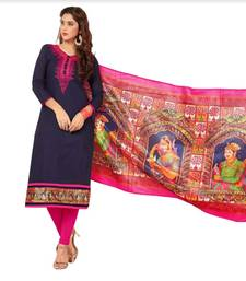 Blue Embroidered Cotton Unstitched Salwar Kameez With Dupatta