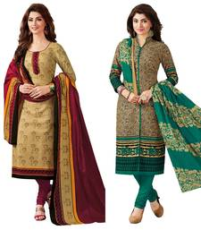Multicolor printed crepe salwar with dupatta
