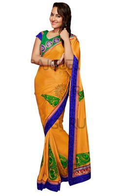 Mustard Embroidered Crepe Saree With Blouse