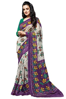 Hite Printed Cotton Poly Saree With Blouse