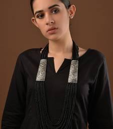 Buy Black beaded german Silver Necklace Necklace online