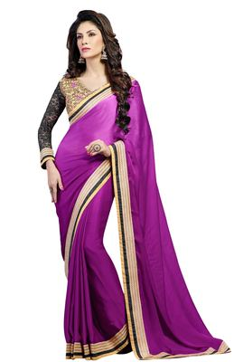 Purple Embroidered Dupion Silk Saree With Blouse