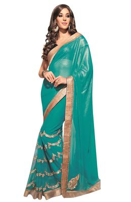 Green Embroidered Shimmer Saree With Blouse