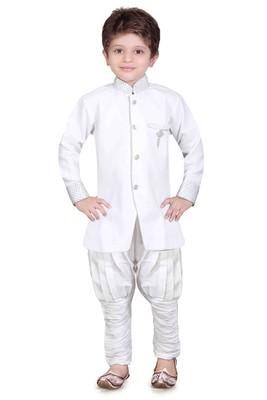 Traditional White Silk Blend Boys Kurta With Breeches