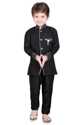 Traditional Black Silk Blend Boys Kurta With Breeches