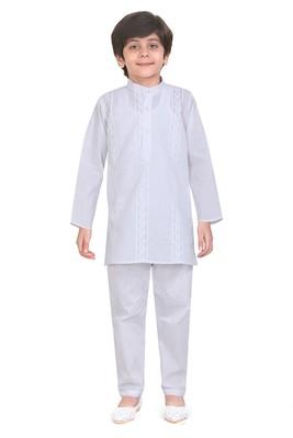 Traditional White Cotton Boys Kurta With Pyjama