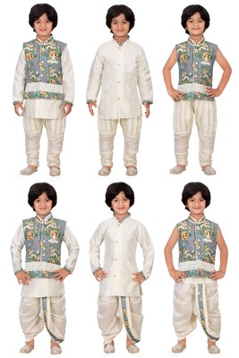 Traditional Grey Cotton Boys Kurta & Waistcoat With Breeches & Dhoti