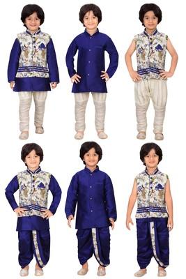 Traditional Blue Silk Blend Boys Kurta & Waistcoat With Breeches & Dhoti