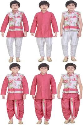 Traditional Pink Cotton Boys Kurta & Waistcoat With Breeches & Dhoti