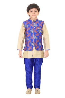 Traditional Blue Silk Blend Boys Kurta & Waistcoat With Breeches