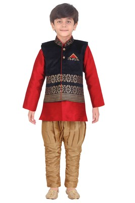 Traditional Red Silk Blend Boys Kurta & Waistcoat With Breeches