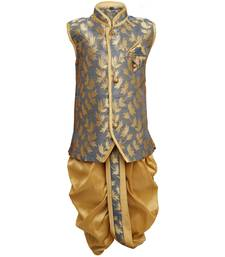 Traditional Grey Silk Blend Boys Kurta With Dhoti