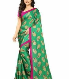 Buy Green printed art silk saree with blouse art-silk-saree online