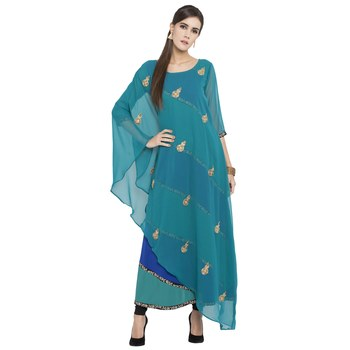 Blue Embroidered Georgette Kurta