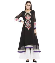 Black embroidered georgette kurta