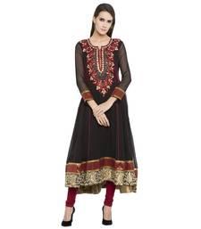 Buy Black embroidered georgette kurta plus-size-kurtis online