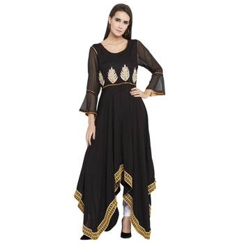 Black Embroidered Cotton Kurta