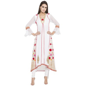 White Printed Georgette Kurta
