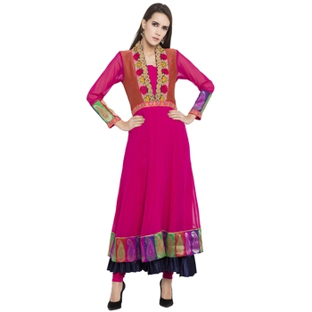 Pink Embroidered Georgette Kurta
