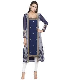 Blue printed georgette kurta