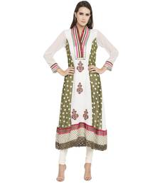 Off White Embroidered Georgette Kurta