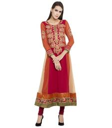 Red embroidered georgette kurta