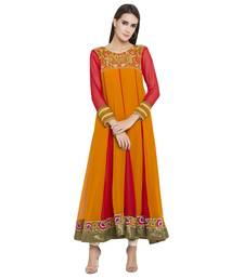 Mustard Embroidered Georgette Kurta