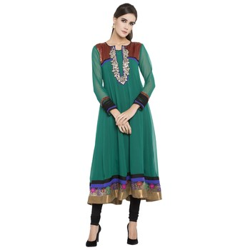 Teal Embroidered Georgette Kurta